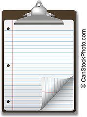 scuola, appunti, carta quaderno, angolo, riccio, pagina, governato