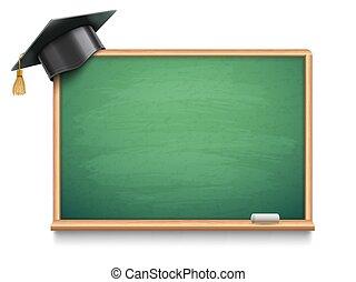 scuola, berretto, asse, graduazione