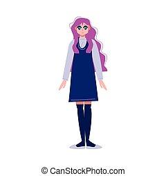 scuola, capelli blu, lungo, anime, vestire, ragazza, giapponese, rosa