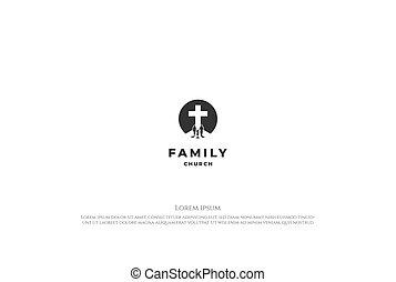 scuola, chiesa, silhouette, famiglia, gesù, logotipo, cristiano, semplice, disegno, vettore, minimalista, croce