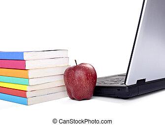 scuola, computer, mela, cibo, laptop, frutta, libri, educazione