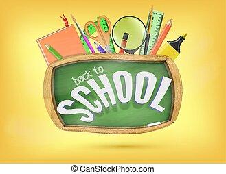 scuola, concetto, aiuto, colorito, indietro, chalkboard., elementi, verde, sotto, pronto, provviste, educazione