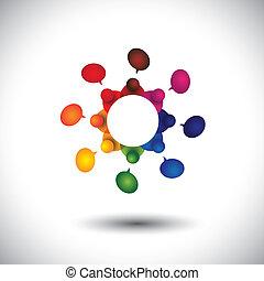 scuola, concetto, bambini, parlare, vettore, impiegato, riunione, o, cir