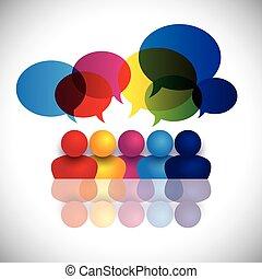 scuola, concetto, ufficio, bambini, parlare, vettore, riunione, o, personale