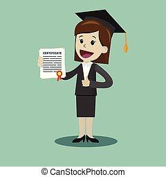scuola, donna, grado, affari, diploma, università, certificato, completo, presa, o, university.
