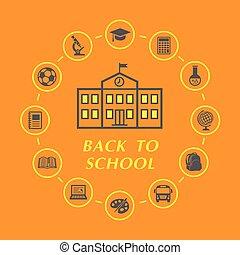 scuola, educazione, indietro, illustrazione, icone