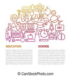 scuola, educazione, linea, sagoma