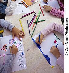 scuola, educazione, pittura, bambini, disegno