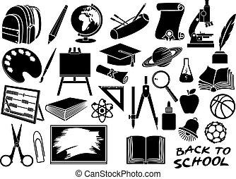 scuola, educazione, set, icone
