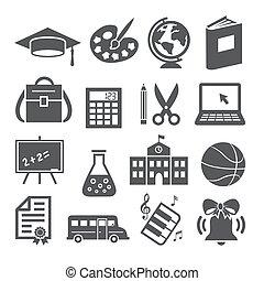 scuola, educazione, sfondo bianco, icone