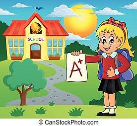 scuola elementare, più, ragazza