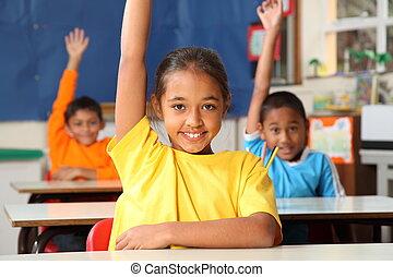 scuola, elevato, bambini, mani