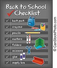 scuola, fondo, indietro, lista, lavagna