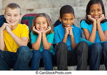 scuola, fuori, bambini, primario, seduta