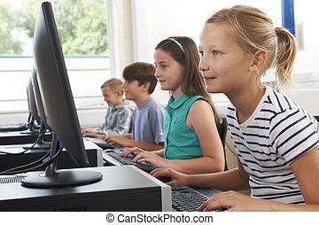 scuola, gruppo, bambini, computer, elementare, classe