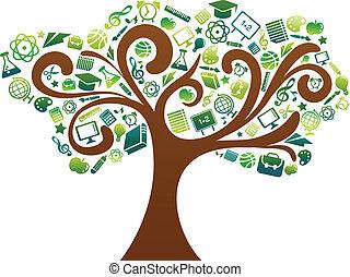 scuola, icone, albero, -, indietro, educazione