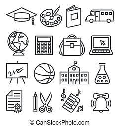 scuola, icone, fondo, bianco, educazione, linea
