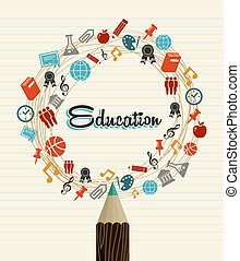 scuola, icone, globale, indietro, educazione, pencil.