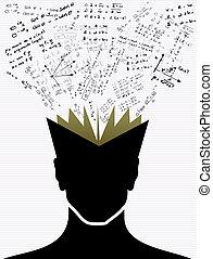 scuola, icone, indietro, book., umano, educazione, testa