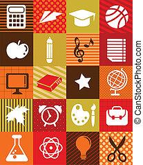 scuola, icone, -, indietro, fondo, educazione