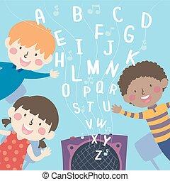 scuola, illustrazione, alfabeto, bambini, rhymes