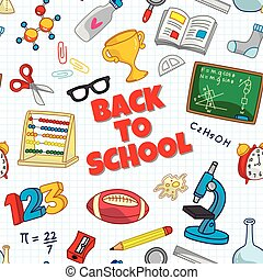 scuola, indietro, seamless, fondo, provviste, icona