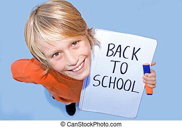 scuola, indietro, studente, felice