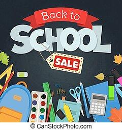 scuola, indietro, vendita