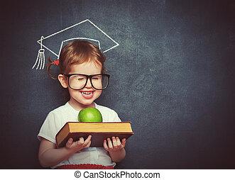 scuola, mela, libri, asse, scolara, ragazza