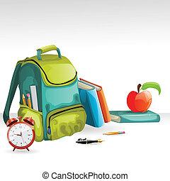 scuola, mela, orologio, libri, allarme, pancil, vettore, borsa
