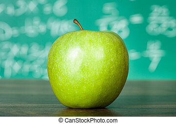 scuola, mela verde, scrivania