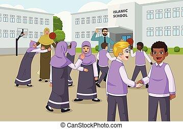 scuola, recesso, musulmano, bambini, campo di gioco, durante, gioco