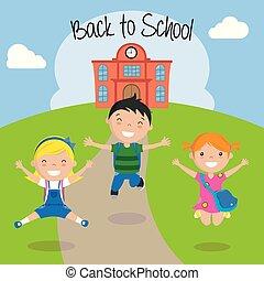 scuola, ritorno, bambini, felice
