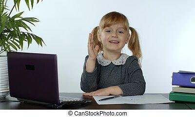 scuola, scolara, linea, indietro, cultura, educazione, lezione, bambino, casa, tecnologia, distanza