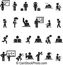 scuola, set, silhouette, icone, nero, bambini