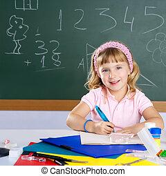 scuola, sorridente, studente, ragazza, bambini, felice