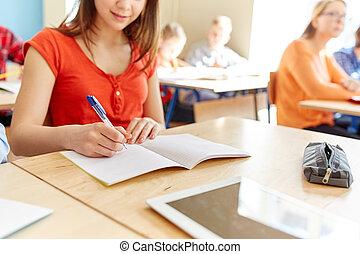 scuola, su, scrittura, quaderno, studente, chiudere