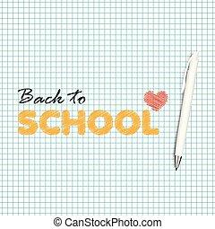 scuola, testo, mano posteriore, scritto, vettore, fondo