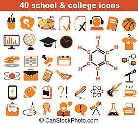 scuola, università, 40, icone