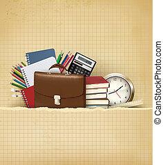 scuola, vettore, vecchio, indietro, carta, fondo, provviste