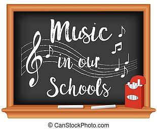 scuole, nostro, musica, lavagna