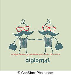 scuotere, diplomatici, mani