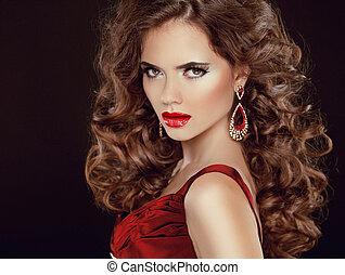 scuro, brunetta, bellezza, stare., lips., isolato, lungo, lussuoso, capelli, ondulato, fondo, sexy, ragazza, modello, rosso