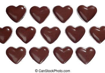 scuro, caramelle, cioccolato heart-shaped