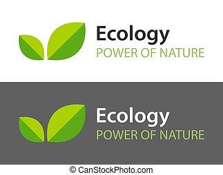 scuro, -, fondo., logotipo, foglie, isolato, icona, naturale, bianco, organico, product., illustrazione, ecologia, verde
