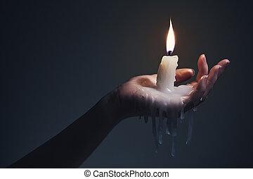 scuro, fondo., presa a terra, candela