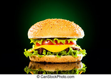 scuro, frigge, saporito, hamburger, francese