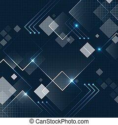 scuro, futuristico, brillare, vettore, quadrato, fondo, grid., astratto, tecnologia, blu