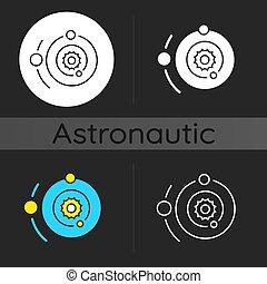 scuro, icona, sistema solare, tema