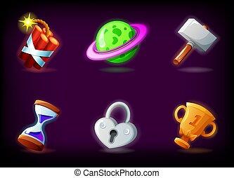 scuro, il giocare, domanda, fascio, stile, icone, gui, set, cartone animato, gioco, illustrazione, contro, mobile, vettore, fondo., video